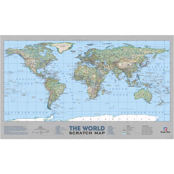 Greb-Greb Mapa Svet, Scratchcard, World, 500x300mm-3