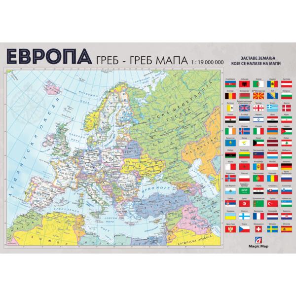 Greb-Greb Mapa Evropa, Scratchcard Europe, 420*279mm