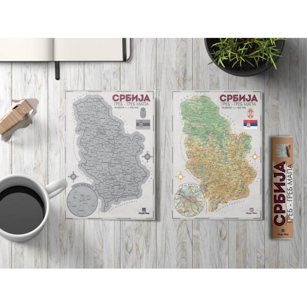 Greb-Greb Mapa Srbija, Scratchcard Serbia, 420*279mm-4