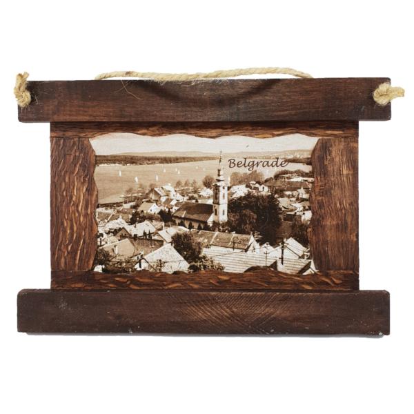 Slika,Beograd,Zvonik Saborne Crkve,drveni Ram,tamni -1