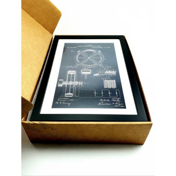 TESLA PATENTI grafika, 3pack, drveni ram, Nikola Tesla Patents, set 1-11