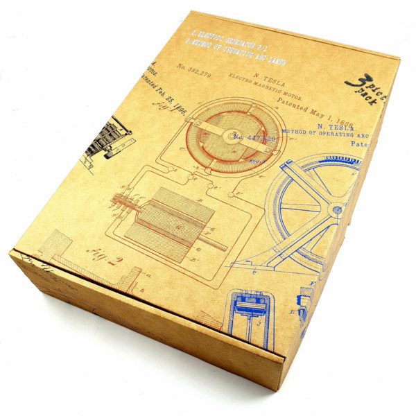 TESLA PATENTI grafika, 3pack, drveni ram, Nikola Tesla Patents, set 1-10