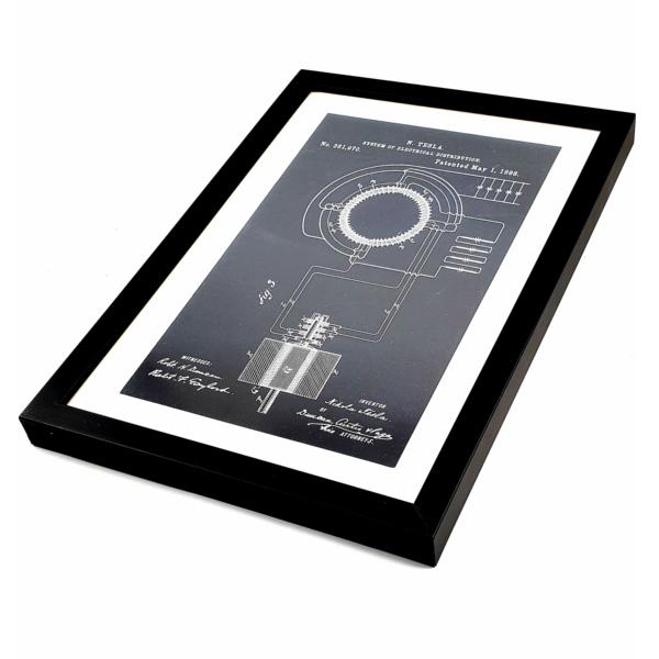 TESLA PATENTI grafika, 3pack, drveni ram, Nikola Tesla Patents, set 1-5