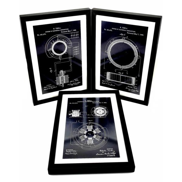 TESLA PATENTI grafika, 3pack, drveni ram, Nikola Tesla Patents, set 1-1