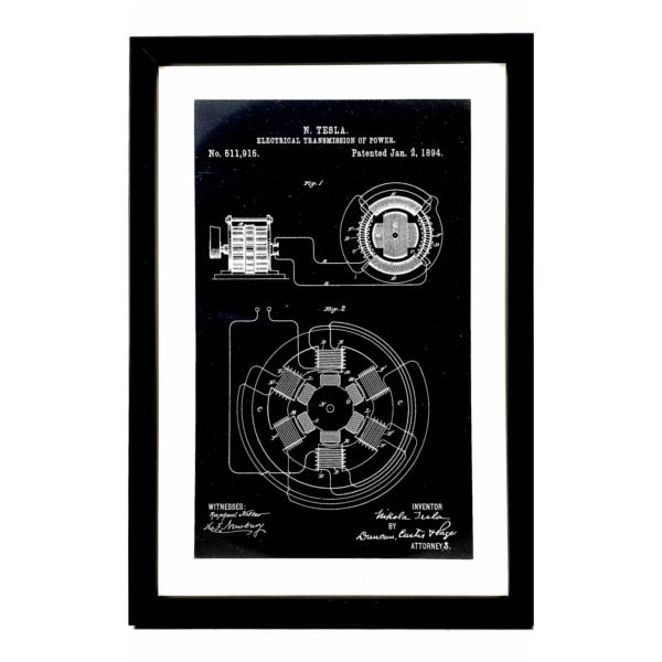 TESLA PATENTI grafika, 3pack, drveni ram, Nikola Tesla Patents, set 1-4