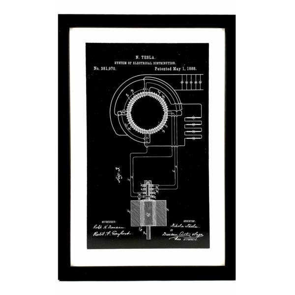 TESLA PATENTI grafika, 3pack, drveni ram, Nikola Tesla Patents, set 1-3