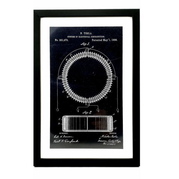TESLA PATENTI grafika, 3pack, drveni ram, Nikola Tesla Patents, set 1-2