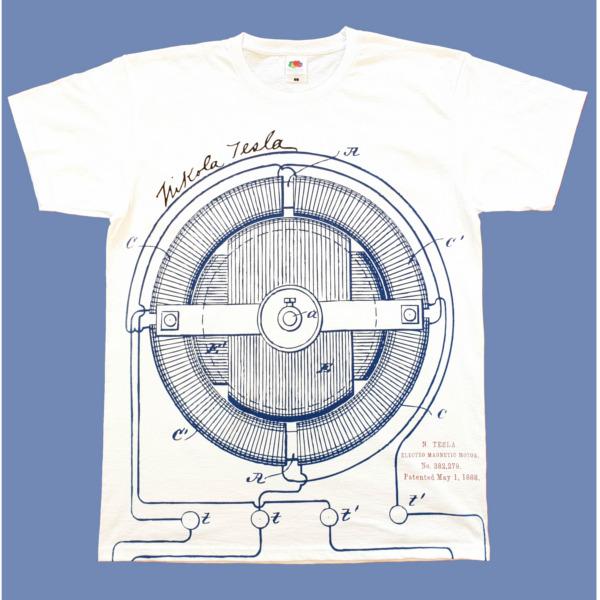 TESLA PATENTI, All Over Print, MUŠKA MAJCA, bela, Nikola Tesla Patents-2