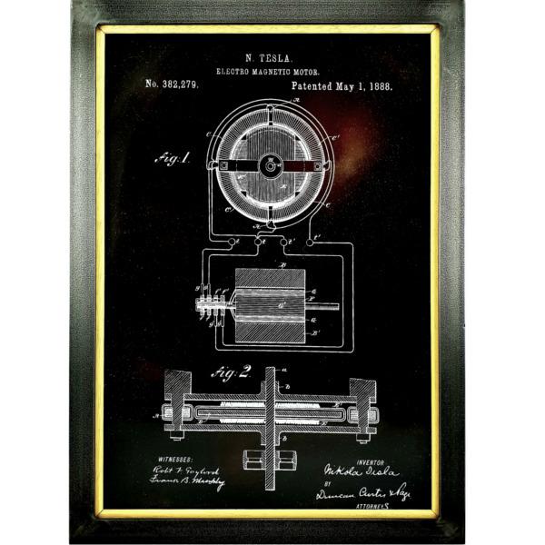 TESLA PATENT GRAFIKA, metalni ram, velika, Teslapatents-1