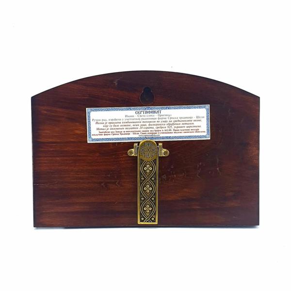 IKONA BOGORODICA I ARHANGEL MIHAIL, METALNA NA DASCI SA KRSTOM, 20x14cm-2