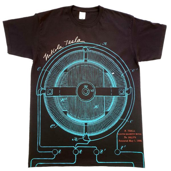 TESLA PATENTI, All Over Print, MUŠKA MAJICA, crna, Nikola Tesla Patents-2