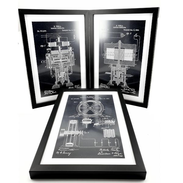 TESLA PATENTI Grafika, 3pack, Nikola Tesla Patents, Set 3-1