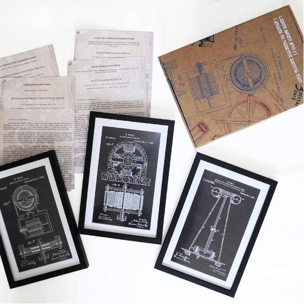 TESLA PATENTI Grafika, 3pack, Nikola Tesla Patents, Set 2-1