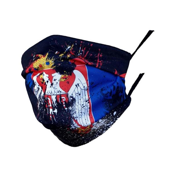 ZAŠTITNA MASKA CRNA SA VELIKIM GRBOM SRBIJE, ukrasne Korona Maske,corona-1