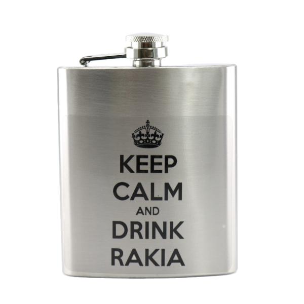 HIP FLASK - KEEP CALM AND DRINK RAKIA-1