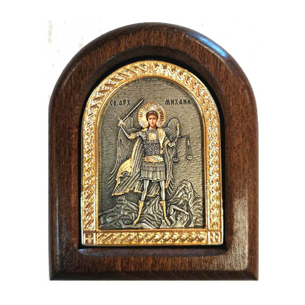 METAL ICON ON A WOOD ST.ARCH. MICHAEL 11 X 9-1
