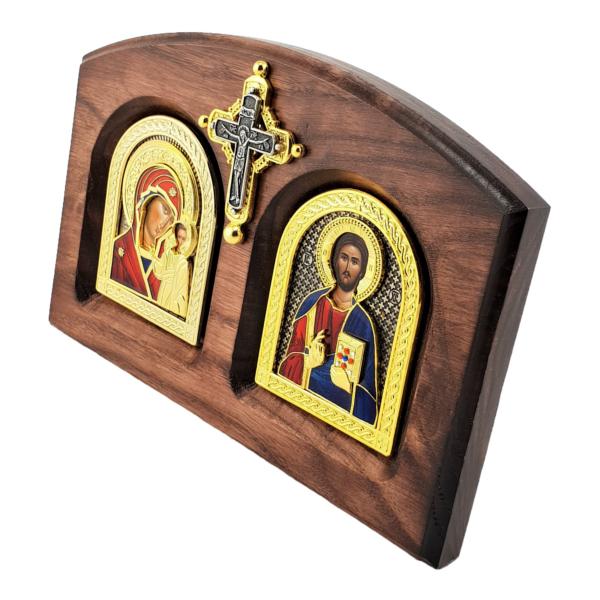 IKONA BOGORODICE I ISUSA HRISTA, METALNA NA DASCI SA KRSTOM, BOJENA, 20x14cm-3