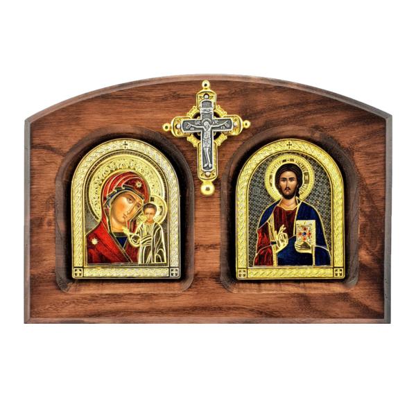 IKONA BOGORODICE I ISUSA HRISTA, METALNA NA DASCI SA KRSTOM, BOJENA, 20x14cm-1