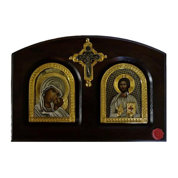 IKONA ISUS HRIST I BOGORODICA, METALNA NA DASCI SA KRSTOM, 20x14cm-1